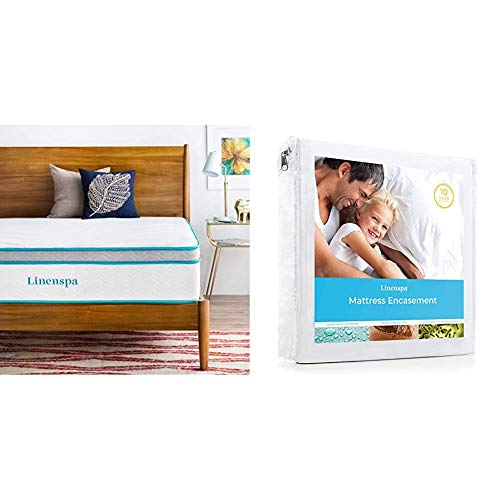 LINENSPA 12 Inch Gel Memory Foam Hybrid Mattress - Ultra Plush - Individually Encased Coils - Queen & Zippered Waterproof, Dust Mite, Bed Bug Proof, Queen Size Hypoallergenic Breathable Protector