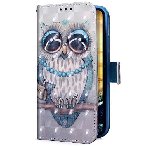 Uposao Kompatibel mit Samsung Galaxy A50 Handyhülle Glitzer Bling 3D Bunt Leder Hülle Flip Schutzhülle Handytasche Brieftasche Wallet Bookstyle Hülle Magnet Ständer Kartenfach,Eule