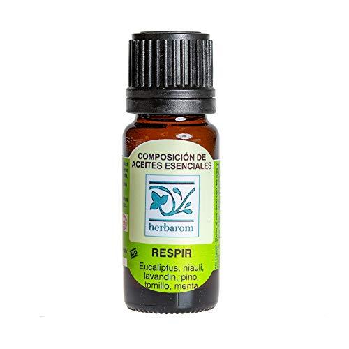 Herbarom Aceites Esenciales Respir | Aceites Vegetales Descongestionantes Aromaterapia, con Propiedades Antiinflamatorias, Antimicrobianas y Expectorantes. Contiene Eucaliptus, Niauli, Lavandin, Pino, Tomillo y Menta. 10 ml