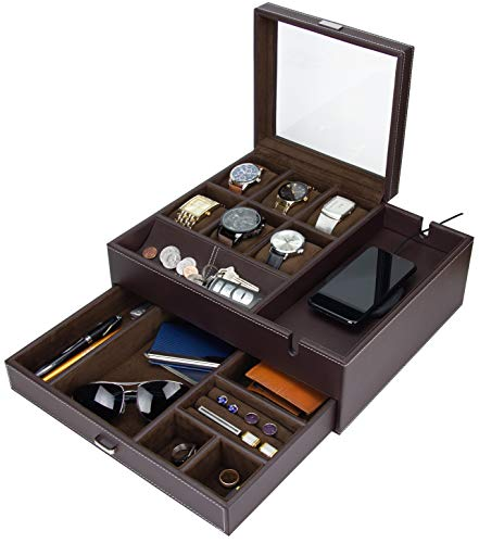 HOUNDSBAY Commander Dresser Valet Watch Box Case & Mens Jewelry Box Organizer with Smartphone Charging Station (Brown/Brown)