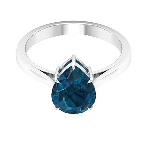 Anillo solitario de 4 ct certificado de topacio azul de Londres, único anillo de boda de dama de honor, anillo de promesa de piedra preciosa en forma de pera, 14K Oro rosa, Size:EU 50