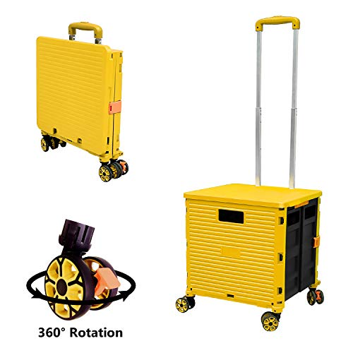 Foldable Utility Cart Folding Portable Rolling Crate Handcart with Durable Heavy Duty Plastic...