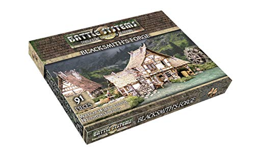 Fantasy Battle Systems Wargames Terrain - Blacksmiths Forge - Multi Level Tabletop War Game Board - Wargaming 40K Universe - BSTFWE006