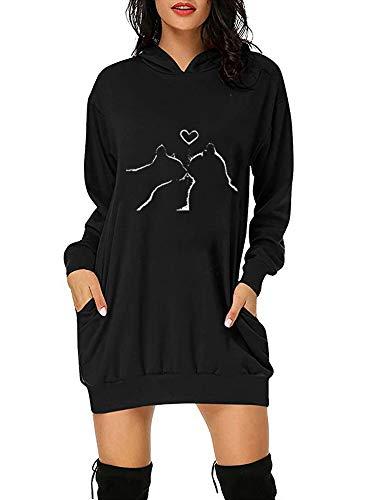 Sudadera con capucha para mujer, diseño de corazón, manga larga, color negro, azul marino, verde y rojo