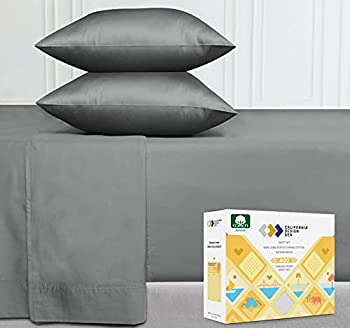 400 Thread Count 100% Pure Cotton Sheet Set Slate Grey Queen Size 4-Pc Long-Staple Cotton Cooling Bed Sheets Soft & Silky Sateen Weave Deep Pocket Fits Low Profile Foam and Tall Mattresses