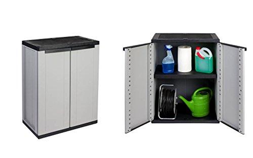 Vorteilspack : 2 Stück Kunststoffschrank, Balkonschrank in Grau mit abschließbaren Türen. Maße pro Schrank: 68 x 37,5 x 85 cm.