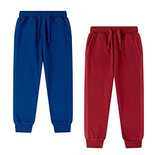 Amomí Pantalón de chándal Niño Pantalón de Deporte Niño Pantalón Largo Rizo Niño 6 Años 100% Algodón (6 Años, Azul+Granate)