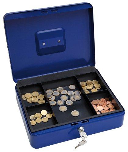 Wedo 145403X Geldkassette (aus pulverbeschichtetem Stahl, versenkbarer Griff, 5-Fächer-Münzeinsatz, Sicherheits-Zylinderschloss, 30 x 24 x 9 cm) blau