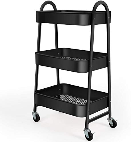 Carrito de almacenamiento, carro de almacenamiento, 3 niveles con gran almacenamiento y ruedas de metal para oficina, cocina, dormitorio, baño, color negro