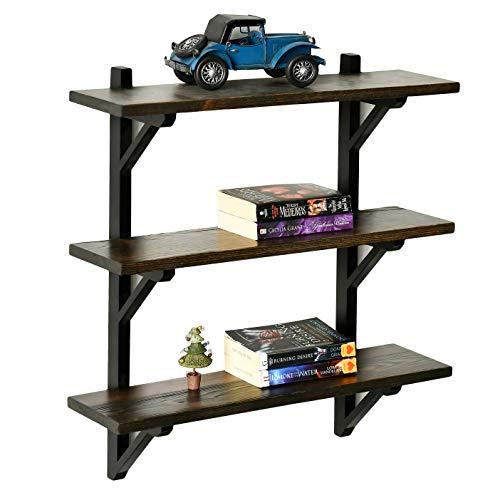 "WELLAND 3 Tier Floating Shelf | Heavy Duty Wall Shelf for Bathroom, Kitchen and Bedroom| Rustic Solid Pine Wood & Brackets| 23.6""W x 6.7"" D x 25"" H| Espresso Finish"