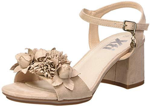 XTI 35193, Scarpe col Tacco con Cinturino Dietro la Caviglia Donna, Beige (Beige Beige), 37 EU