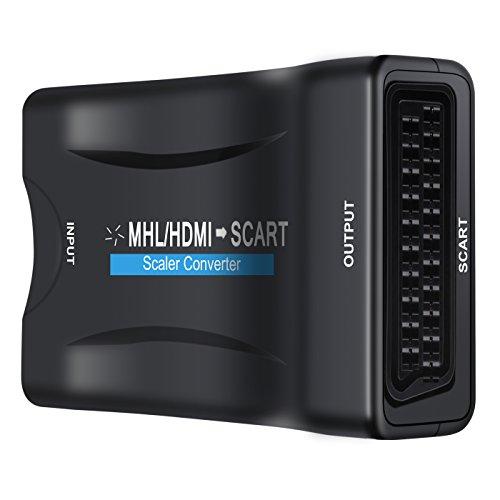 OLRIKE 1080P HDMI till SCART-omvandlare HDMI-ingång och SCART-utgång sammansatt video stereo ljudadapter för TV DVD SKY HDTV HD Blu Ray PS3 VHS