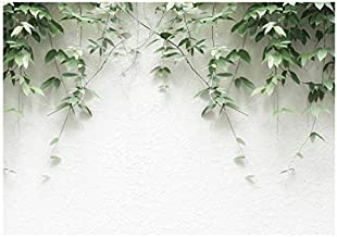 Green Plants Leaves Hanging on White Brick Wall Photography Backdrop 7x5ft Vivid Plants Photo Background YouTube Party Banner New Born Child and Adult Party Decoration Props WM005
