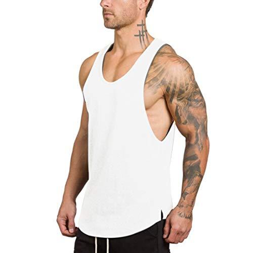GZXISI Men's Gym Bodybuilding Stringer Tank Top Muscle Workout Shirt Fitness Sleeveless Vest (#2 White, Medium)