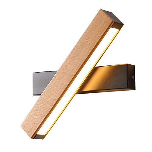 WODT Aplique de Pared LED Lámparas de Pared Modernas de Madera para Interiores, Aplique de Pared Interior Giratorio Ajustable hacia Arriba y hacia Abajo para escaleras de Pasillo Mesita de Noche
