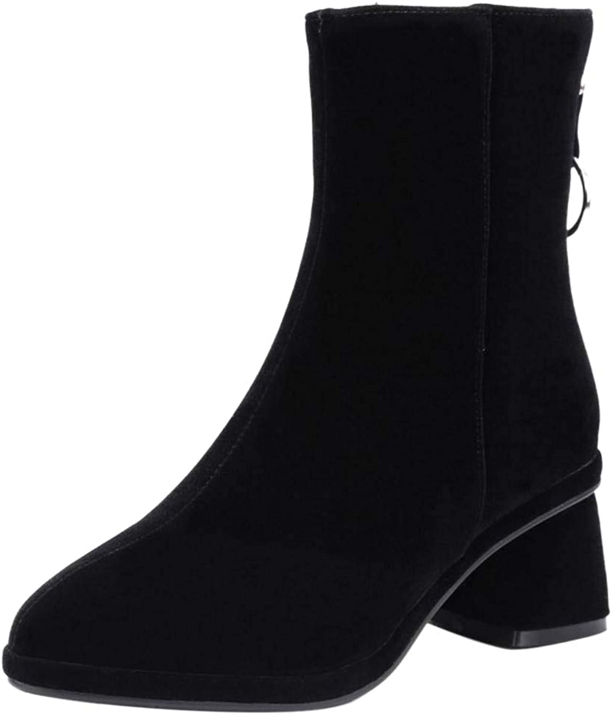 Kaizi Karzi Women Block Heel Short Boots Zipper Dress Boots