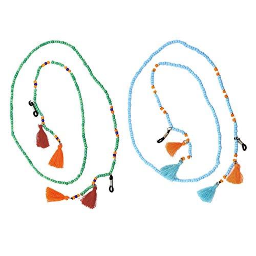 IPOTCH 2 Piezas Cordón Cuelga Gafas, Material de Perlas de Vidrio Filamento, 75cm Longitud - Verde claro, azul lago, 75cm