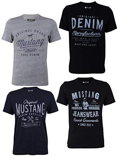 Mustang 4-pack heren t-shirt met print op de voorzijde en ronde hals - kleurenmix blauw en zwart