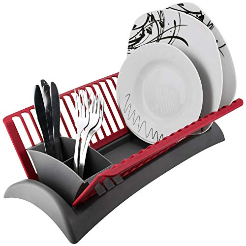 Compact Space Saving Plastic Dish Drainer Draining Rack with Drip Tray & Adjustable Cutlery Section