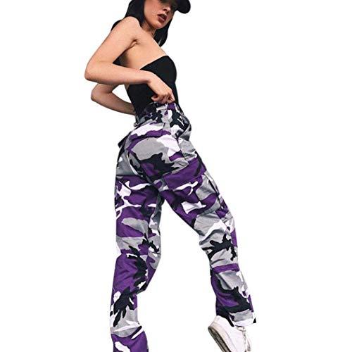 ORANDESIGNE Damen Camouflage Hose Mädchen Hip Hop Jogger Trainingshose Casual Sport Camo Cargo Hosen Violett EU Medium