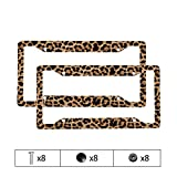 Brown Leopard License Plate Frames for Women Girl Automotive Exterior Decorative Accessories Animal Leopard Print Front/ Rear License Plate Frames Aluminum Car Tag, 2 Pack