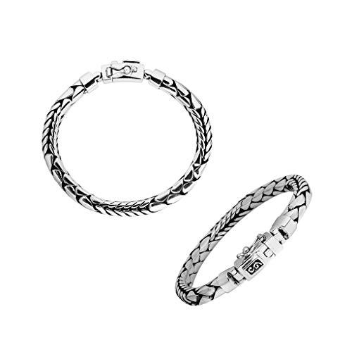 Pulsera de plata de ley con plata lisa AB-1107-S-17,78 cm