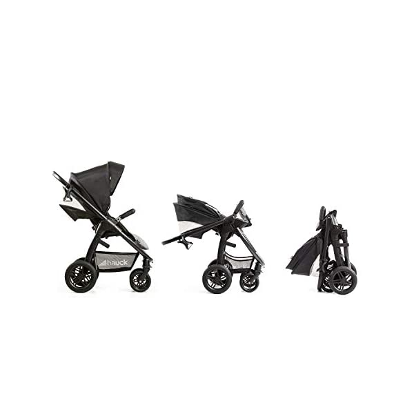 Hauck Hauck Unisex Promenade Chaises Black/Grey Hauck Maximum comfort: backrest and footrest adjustable to the lying position, extra large canopy, height adjustable handlebars, cup holders and foot covers All terrain: the stroller is suitable for both the city and the countryside thanks to the suspension, the high-quality rubber profile and the swivel and lockable front wheels. Swivel: The lightweight sports chair with removable front bar can be rotated towards parents or in moving direction easily in a few seconds. The chair supports a weight of up to 25 kg. 23