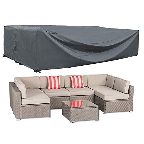 AKEfit Patio Furniture Cover Outdoor sectional Furniture Covers Waterproof Dust Proof Furniture Lounge Porch Sofa Protectors D98 x W98 x H28