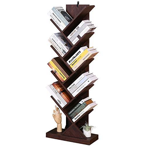 Tagorine Estantería de madera con 9 niveles, estantería de madera, para CD, DVD, oficina, para salón, hogar y oficina, color marrón oscuro
