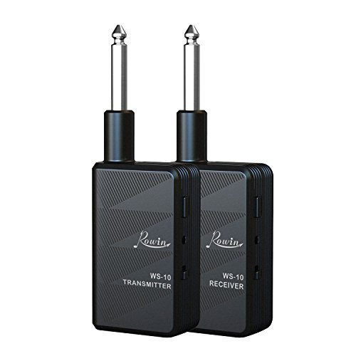 Iset Rowin 2.4G Guitar Wireless Transmitter & Receiver Wireless Guitar System, Use For Guitar, Bass, Mandolin, Banjo, All electric Music Instruments, Batteries Included