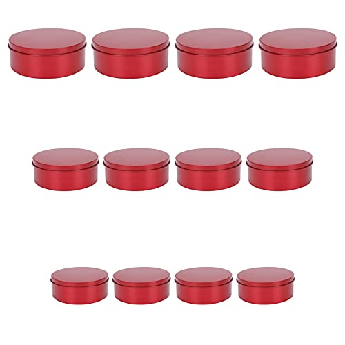 Tomaibaby 12pcs Round Empty Tin Box Empty Storage Containers Jars Metal Nesting Storage Box Wedding Favor Gift Box with Lids for Spices Candies Candy Jewelry Organizer Red