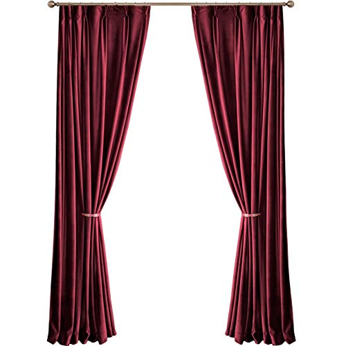 XHDFHS Luxury Nordic Velvet Curtain Red Blackout Curtains for Living Room Bedroom Thickened Velvet French Window Curtains (Processing : Hook, Size : W100cmxH130cm)