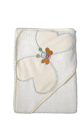 Bébé-jou 301059 Serviette à Capuche Motif Papillons Blanc 80 x 90 cm
