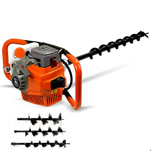 Petrol Earth Auger Drill - 52CC 2 Stroke Garden Earth Borer Post Hole Digger Borer, Heavy Duty Petrol Earth Auger with 4'6' 8'drill