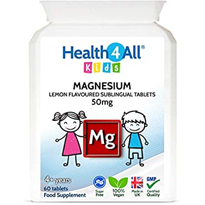 Kids Magnesium Sublingual 60 Tablets for Anxiety, Sleep, Ticks. Vegan Magnesium Citrate for Children. Made by Health4All