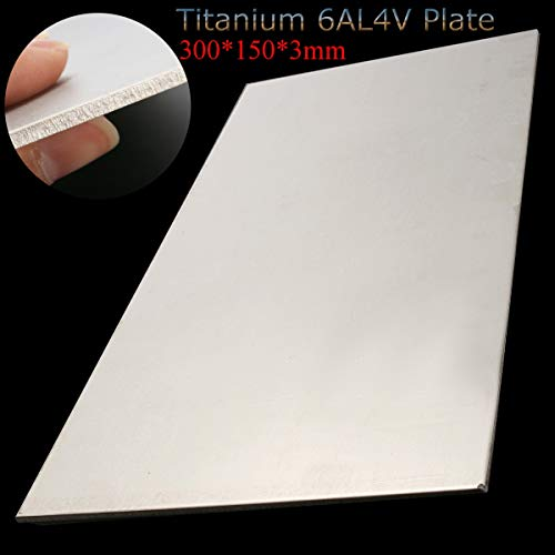 HWW-GDJIAODAI, 1pc 300X150X3mm Thick Titan 6Al-4V Blatt Grade Platte Titan Blech Platte Silber Metalwoking Craft Titanium