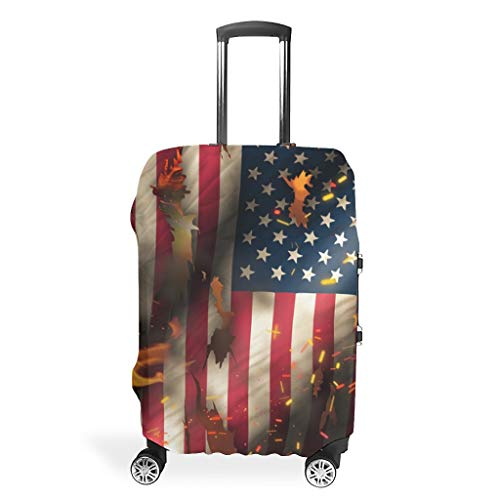 Flag Fire Functional Various Colors Luggage Cover Protector Suitcase Cover Protective Washable 18/20/24/28/32 Inch for Journey White s (49x70cm)