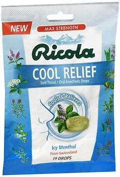 Ricola Cool 1 year warranty Relief Oral Anesthetic Drops ct NEW before selling 19 Menthol - ICY Pa