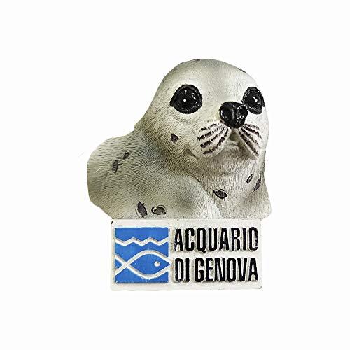Italienisches Genua-Aquarium-3D-Siegel-Kühlschrankmagnet, Souvenir, Geschenk, handgefertigt, Heim- und Küchen-Dekoration, Siegel Kühlschrankmagnet-Kollektion