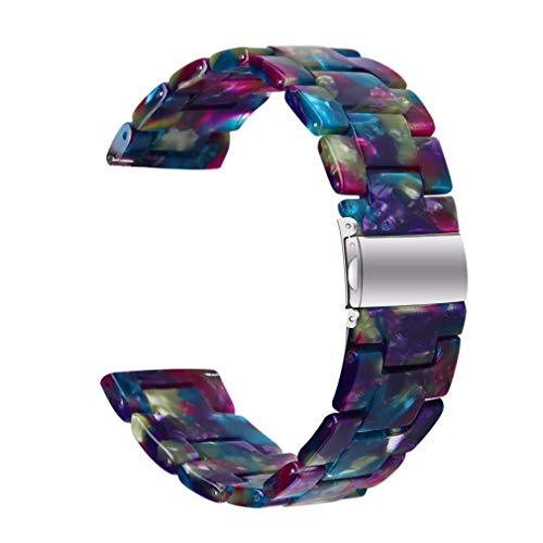 Resin Bands Compatible with Letsfit IW1 EW1 Smart Watch Band, Replacement Bracelet with Stainless Steel Clasp for Letsfit IW1 EW1(Not for 205L) (Purple/Blue)
