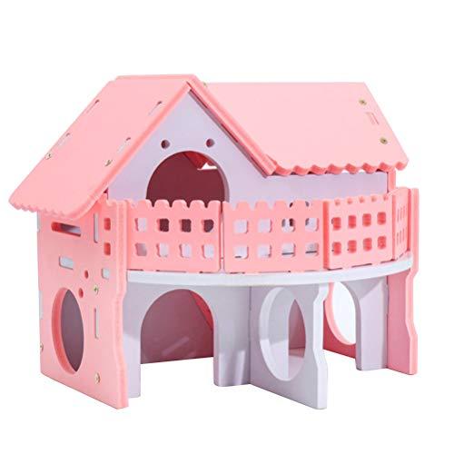 POPETPOP Castillo Casa de Madera para Hamster, Cama Ecológica de Dos Niveles con Escalera para Hamster Cobaya Mascotas Pequeñas (Rosa)