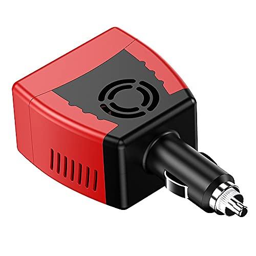 Creely Inversor de corriente de 150W con convertidor de potencia de carga USB 2.1A para coche (12V a 220V)