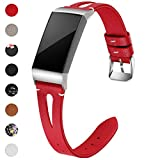 Maledan Bands Compatible for Fitbit Charge 3 and Charge 3 SE Fitness Activity Tracker, Slim Genuine Leather Band Replacement Accessories Strap for Charge3 Special Edition, Women Men, Large, Red