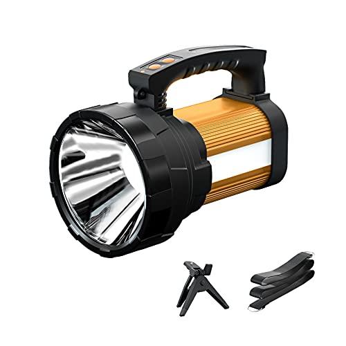 LED Handscheinwerder Wiederaufladbar, 6000 Lumen Wasserdichte Tragbare LED Handlampe mit Tripod, 6 Modi Multifunktionaler Suchscheinwerfer mit 10000mAh Akku für Notfall Camping Nachtfischen11