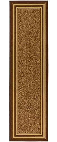 Ottomanson Ottohome Collection Brown Color Contemporary Bordered Design Runner Rug With Non-Skid Rubber Backing, 1