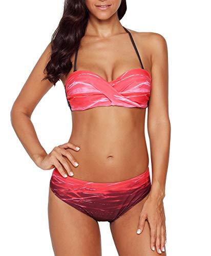 Aleumdr Damen Geraffte Tie Dye Bandeau Bikini Badeanzüge mit Slip S-XXL, Rot, Medium(EU38-40)