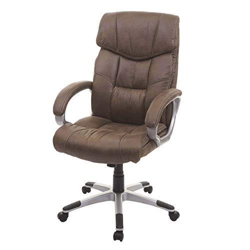 Mendler Bürostuhl HWC-A71, Chefsessel Drehstuhl Schreibtischstuhl, Stoff/Textil - Wildleder-Optik braun