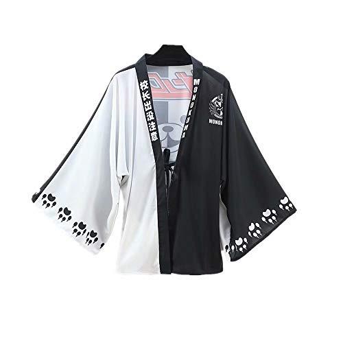 Danganronpa Capa Tipo Cárdigan De Gasa Kimono Personaje De Anime Oso Blanco Negro Monokuma Disfraz De Cosplay para Exhibición De Anime Y Fiesta Temática Y Actuación Escénica Y Halloween