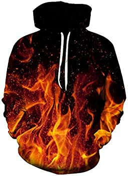Unisex Adult Fleece Hoodie Jackets Funny Design Abstract Flame Fire 3D Digital Printed Personalized Long Sleeve Warm Hooded Sweatshirts with Pocket for 80s Womens Man Winter Casual Wear Outfits Large