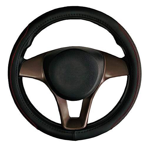 Housse de volant de voiture en cuir noir diamètre 38 cm pour Tipo Strada Grande Punto 500L 500